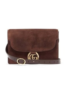 Gucci GG-ring small suede shoulder bag