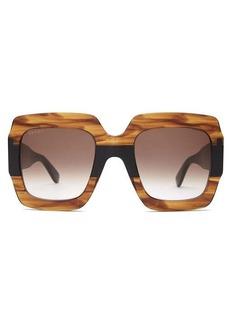 Gucci GG square marbled-acetate sunglasses