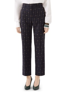 Gucci GG Straight Leg Crop Wool Pants