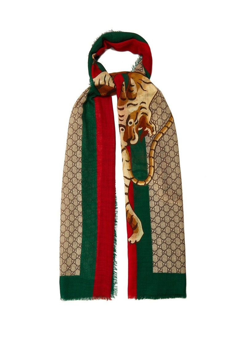 5bed706670722 Gucci Gucci GG Supreme and Angry Tiger-print scarf