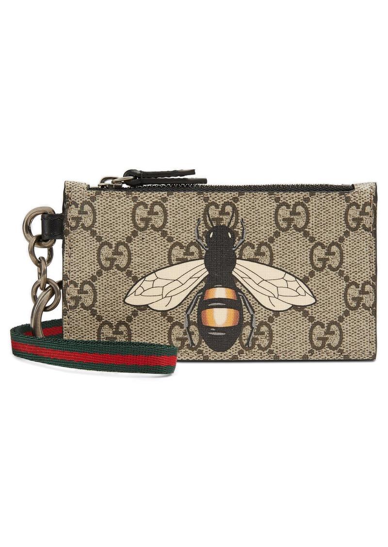 b613e2277c22 Gucci Gucci GG Supreme Bee Print Lanyard Card Case | Handbags