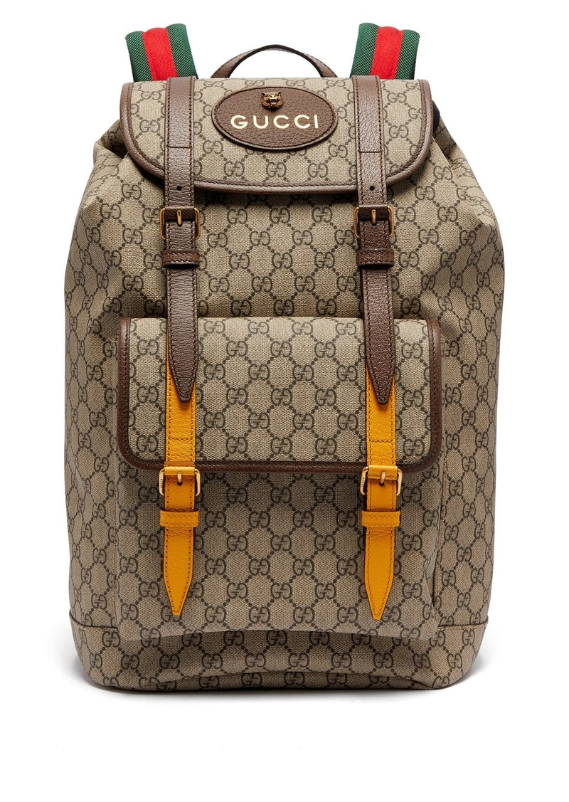 41bef683c53 Gucci Gucci GG Supreme-print leather-trimmed canvas backpack