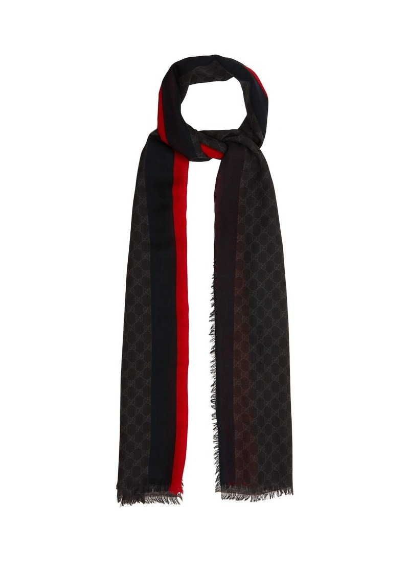 15436ad7e Gucci Gucci GG Supreme-print scarf with stripe | Misc Accessories