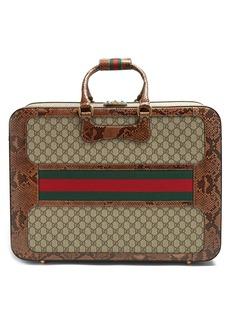 Gucci GG Supreme python-trimmed canvas suitcase