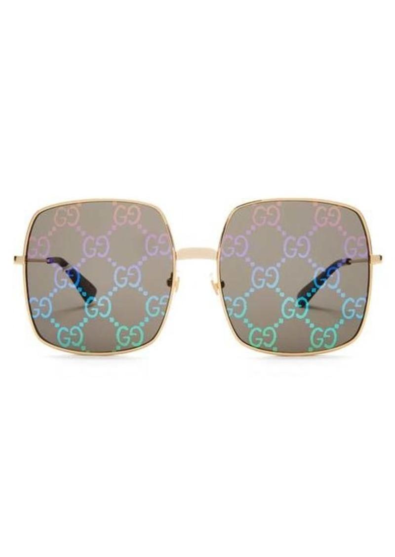 Gucci GG Supreme square metal sunglasses