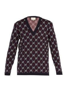 Gucci GG Supreme V-neck wool sweater