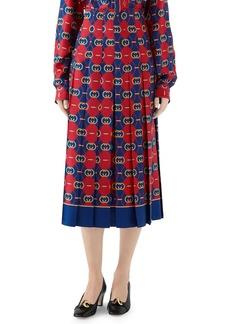 Gucci GG Waves Border Print Silk Twill Skirt