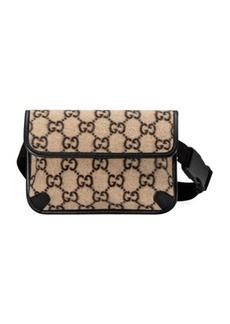 Gucci GG Wool Belt Bag In Beige Ebony & Black