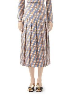 Gucci Giraffe Heritage Twill Pleated Midi Skirt