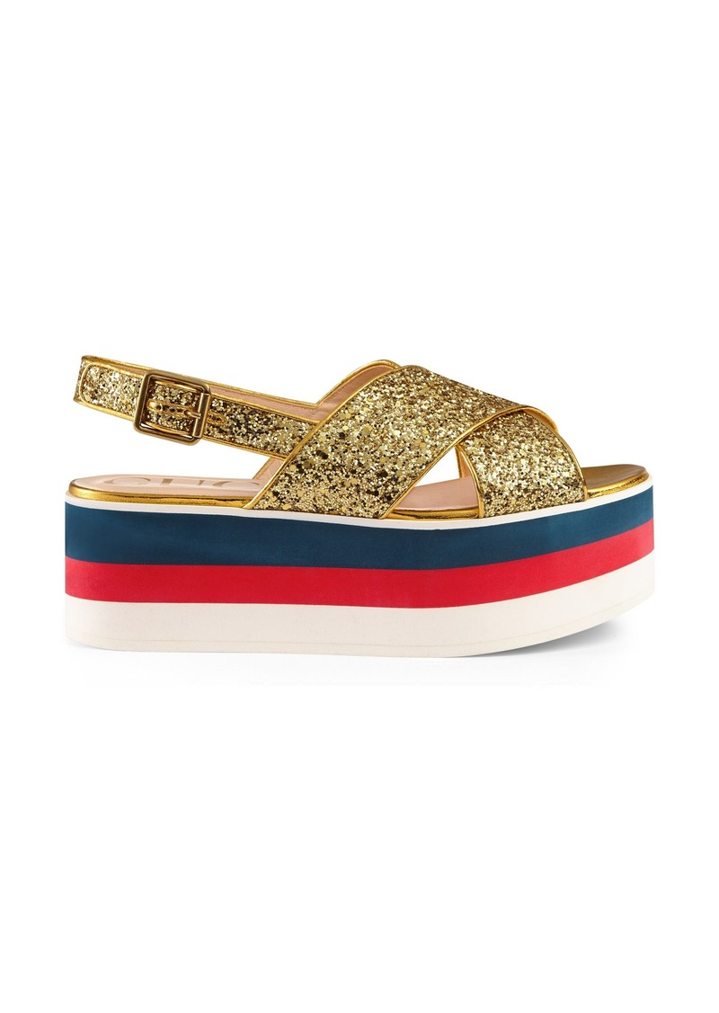 72aecfed0a8 Gucci Gucci Glitter Flatform Sandal (Women)