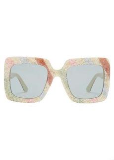 Gucci Glitter-stripe square acetate sunglasses