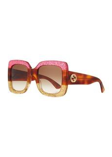 abb33677534 Gucci Glittered Gradient Oversized Square Sunglasses Fuchsia Havana Gold