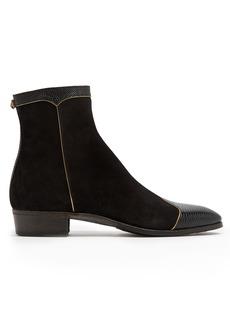 Gucci Gold-trimmed suede lizard-skin boots
