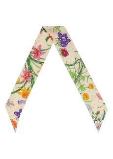 Gucci Goldy Floral & Star Print Silk Skinny Scarf