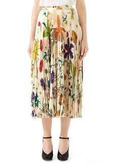 Gucci Gothic Floral Print Pleated Silk Twill Midi Skirt