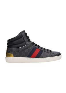 Gucci Grey Canvas Ace High-top Sneakers