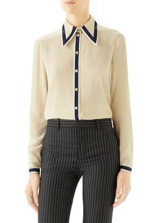 Gucci Grosgrain Trim Silk Crêpe de Chine Shirt