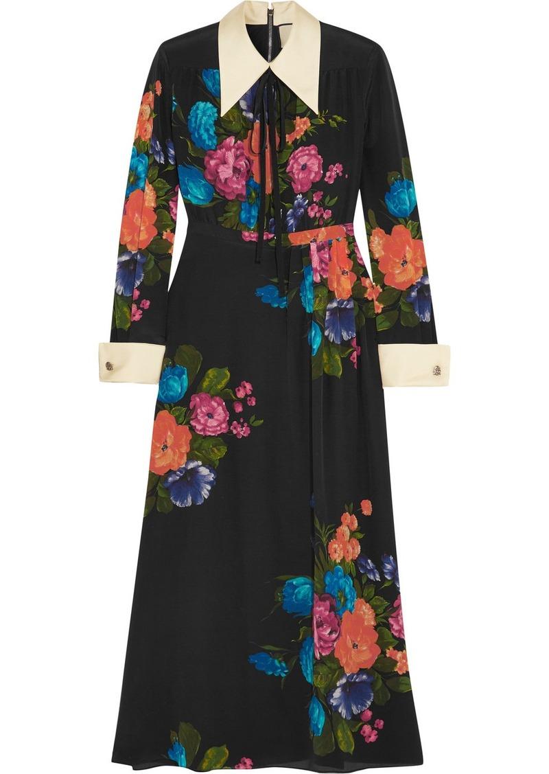 c9e96e4d9 Gucci Grosgrain-trimmed Floral-print Silk Crepe De Chine Midi Dress ...