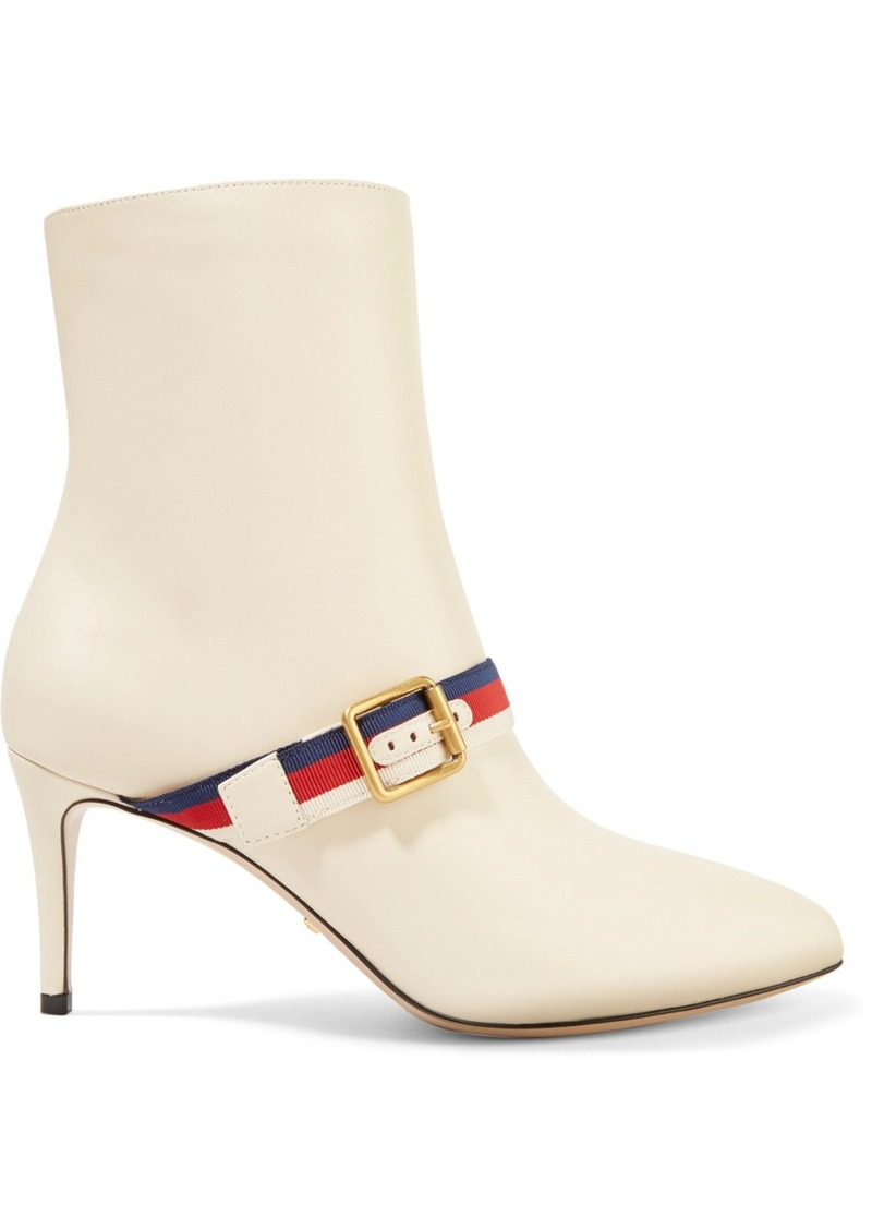 e77f03363e0 Gucci Grosgrain-trimmed Leather Ankle Boots