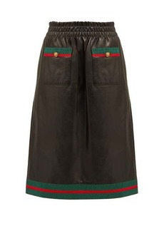Gucci Grosgrain-trimmed leather skirt