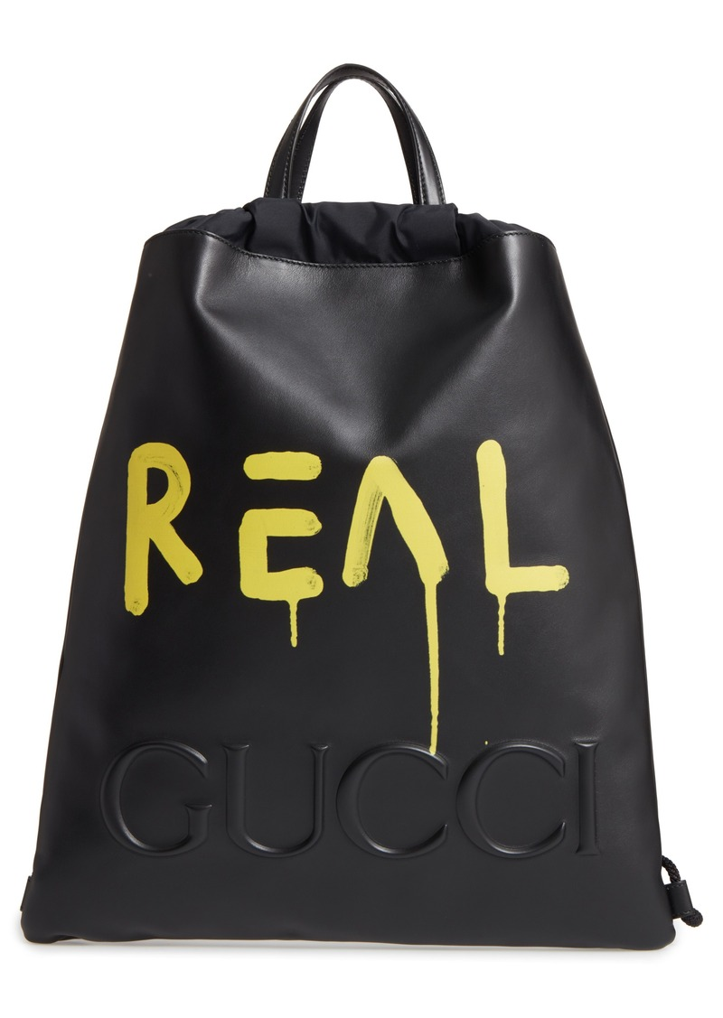 Gucci Gucci GucciGhost Drawstring Leather Backpack  a16b6664ad486