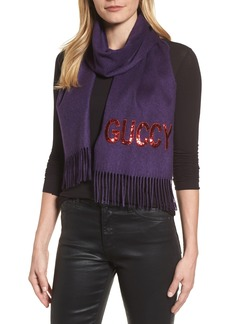 Gucci Guccy Sequin Silk & Cashmere Scarf