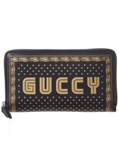 Gucci Guccy Leather Zip Around Wallet