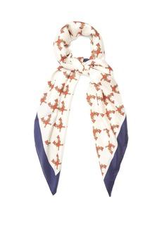 Gucci Guns-print silk-twill scarf