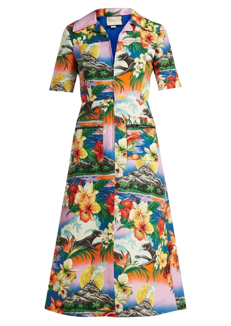 e750fcdf758 Gucci Gucci Hawaiian-print collared linen midi-dress