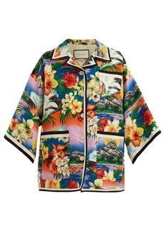 Gucci Hawaiian-print oversized linen jacket
