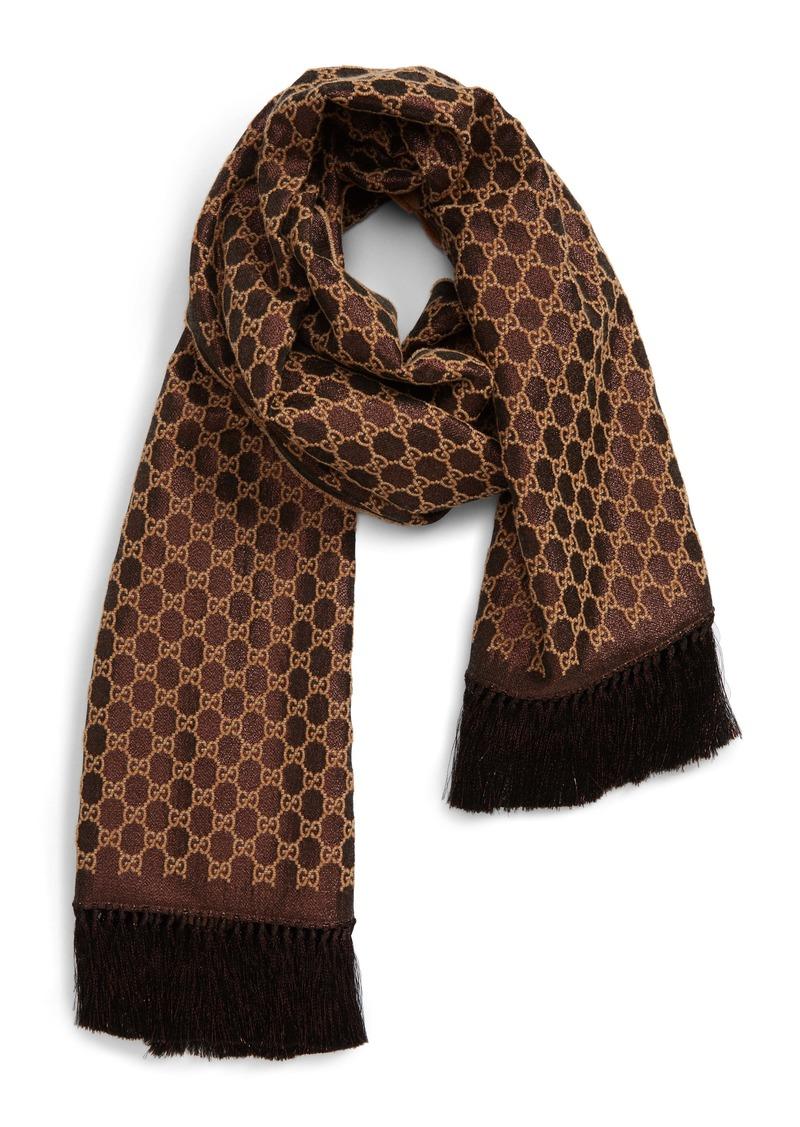 Gucci Heritage GG Lamé Jacquard Wool Blend Scarf