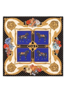 Gucci Heritage Horses Square Silk Twill Scarf