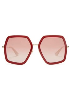 Gucci Hexagon acetate and metal sunglasses