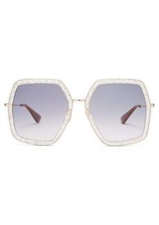 Gucci Hexagon glitter-acetate sunglasses