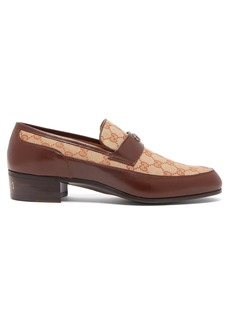 Gucci High Loomis GG-canvas and leather loafers