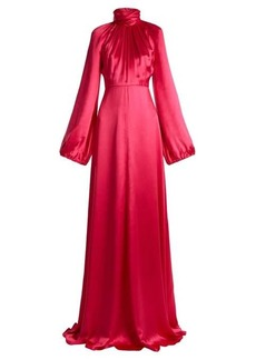 Gucci High-neck gathered silk-blend satin gown