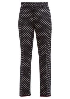 Gucci High-rise square-jacquard cotton trousers
