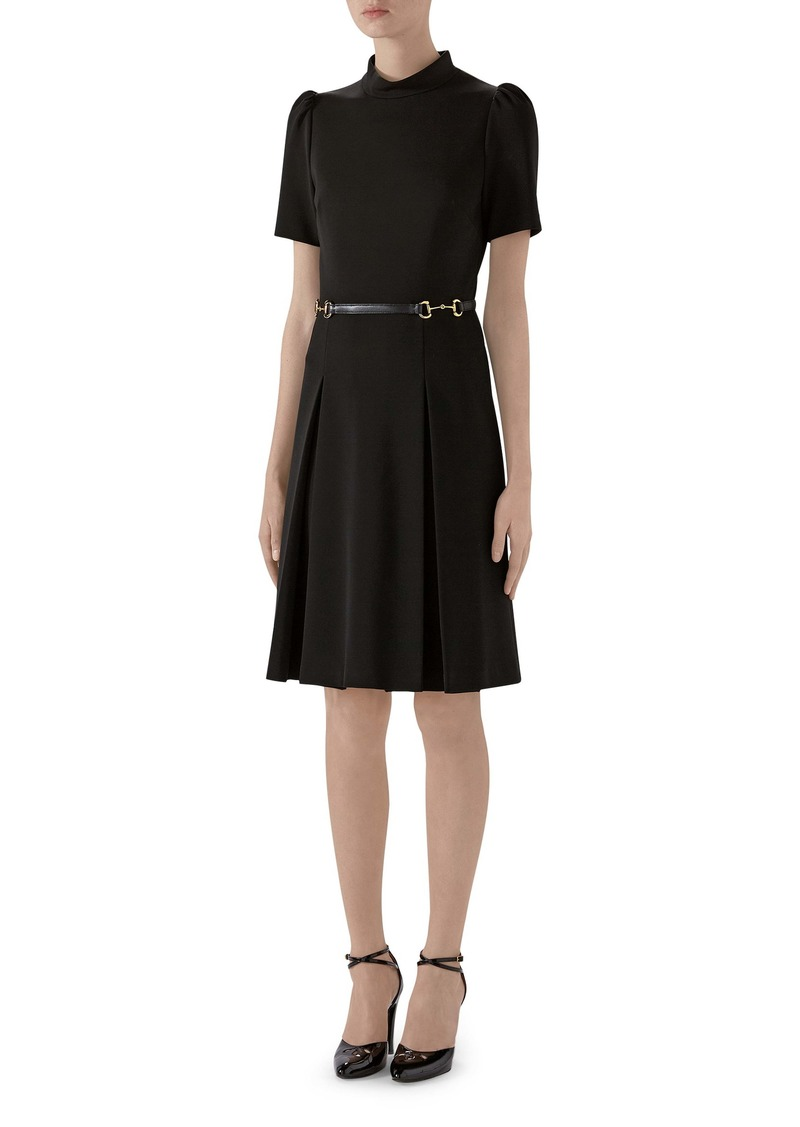 Gucci Horsebit Detail Pleated Jersey Dress