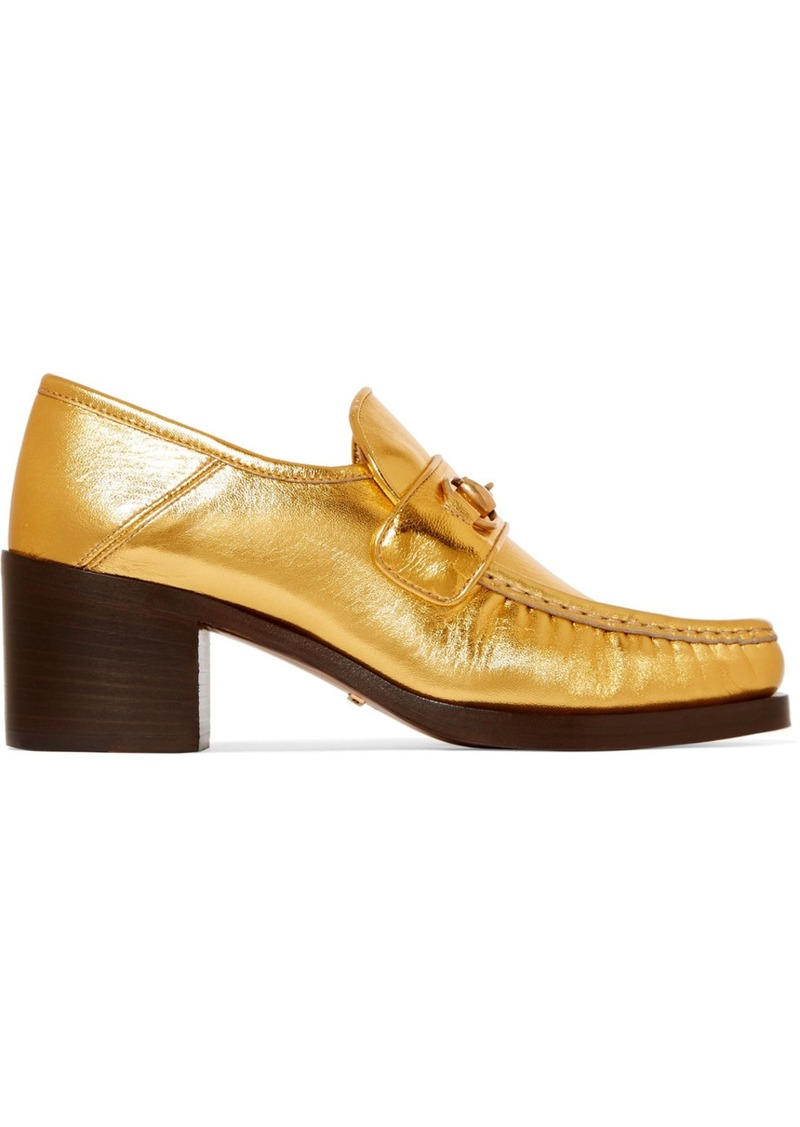 adf44f86f Gucci Gucci Horsebit-detailed collapsible-heel metallic leather ...