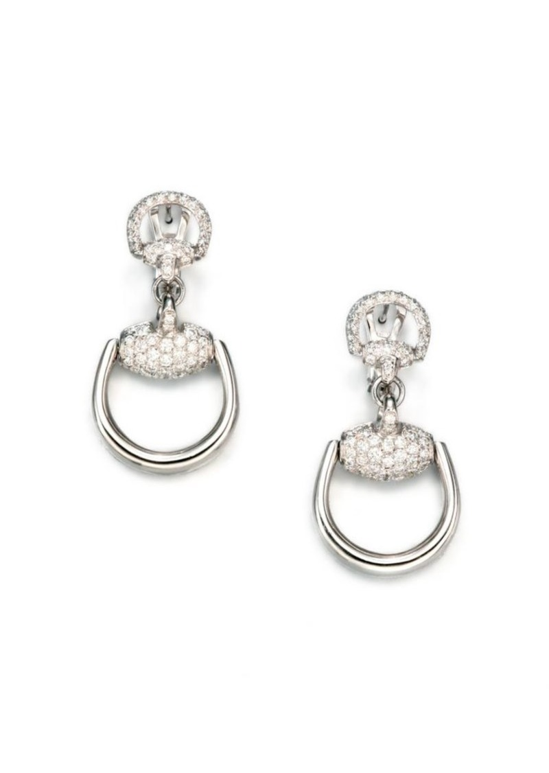 899d8c1b9b1 Gucci Horsebit Diamond 18k White Gold Drop Earrings Jewelry