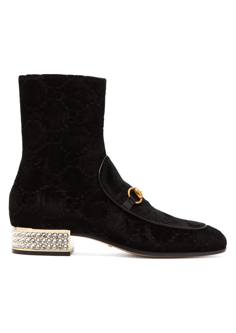 6a815a2a7 Gucci Gucci Horsebit GG crystal-embellished velvet ankle boots | Shoes