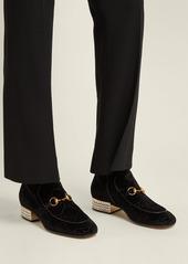 e5bd6929ed9 ... Gucci Horsebit GG crystal-embellished velvet ankle boots ...