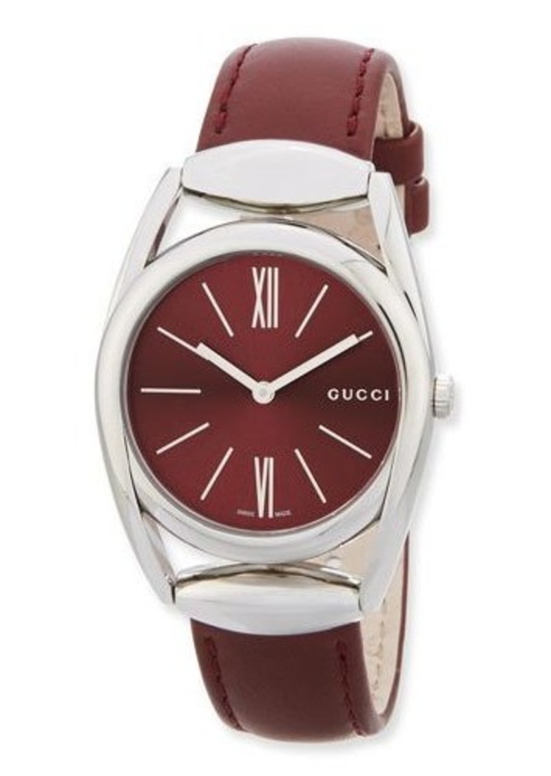 d3f41e03f Gucci Gucci Horsebit Medium Stainless Steel Watch w/Dark Red Leather ...