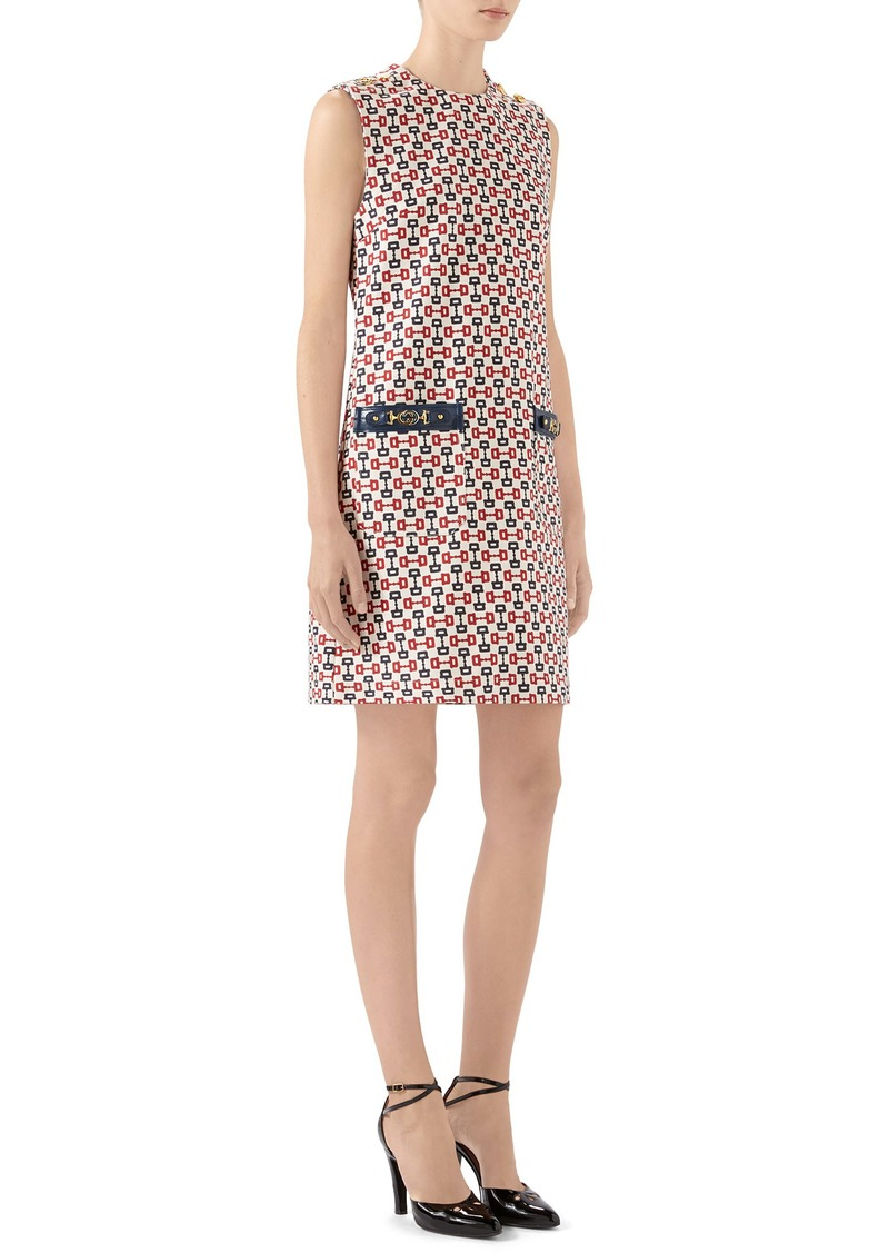 Gucci Horsebit Print Cotton Canvas Shift Dress