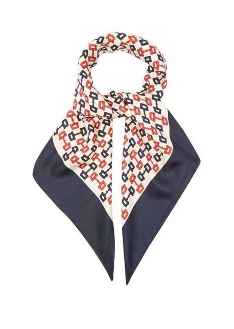 Gucci Horsebit-print silk-twill scarf