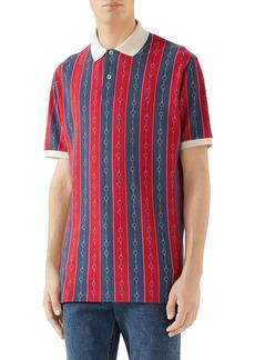 Gucci Horsebit Stripe Short Sleeve Stretch Piqué Polo