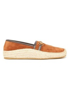 Gucci Horsebit suede and raffia espadrille loafers