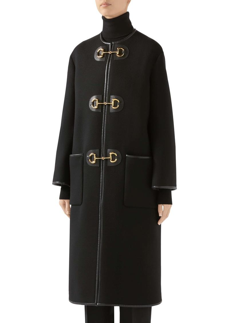 Gucci Horsebit Toggle Leather Trim Wool Blend Military Coat