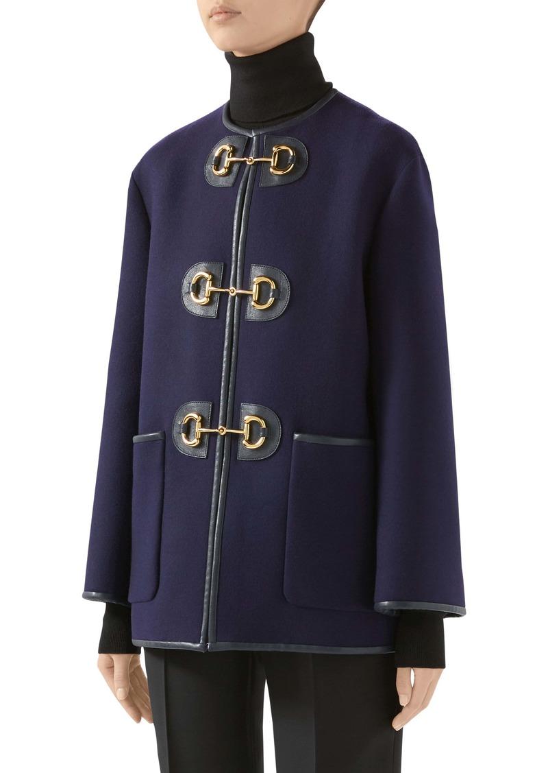 Gucci Horsebit Toggle Wool Blend Military Caban Coat