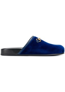 Gucci Horsebit velvet mules - Blue